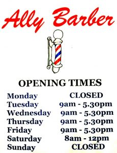 Ally Barber New Opening Hours